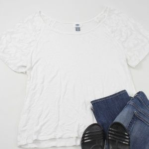 Old Navy White Calla Lily Lace Sleeve Raglan Tee